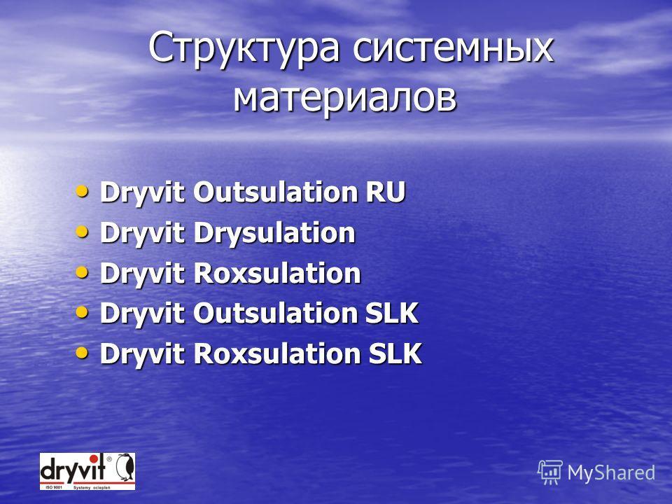 СОДЕРЖАНИЕ Системы Dryvit Системы Dryvit Материалы в составе систем Dryvit Материалы в составе систем Dryvit Позиционирование материалов Позиционирование материалов Подведение итогов Подведение итогов