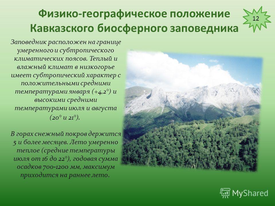 Физико-географическое положение Кавказского биосферного заповедника Особую неповторимость придают горному ландшафту заповедника многочисленные озера. Их насчитывается более 120. Они небольшие по площади и часто полностью освобождаются ото льда только