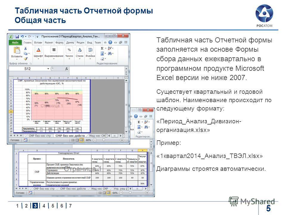 1234567 Табличная часть Отчетной формы Общая часть 5 Табличная часть Отчетной формы заполняется на основе Формы сбора данных ежеквартально в программном продукте Microsoft Excel версии не ниже 2007. Существует квартальный и годовой шаблон. Наименован