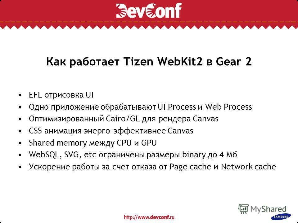 Как работает Tizen WebKit2 в Gear 2 EFL отрисовка UI Одно приложение обрабатывают UI Process и Web Process Оптимизированный Cairo/GL для рендера Canvas CSS анимация энерго-эффективнее Canvas Shared memory между CPU и GPU WebSQL, SVG, etc ограничены р