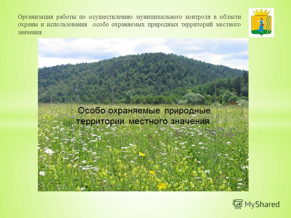 Организация работы по осуществлению муниципального контроля в области охраны и использования особо охраняемых природных территорий местного значения