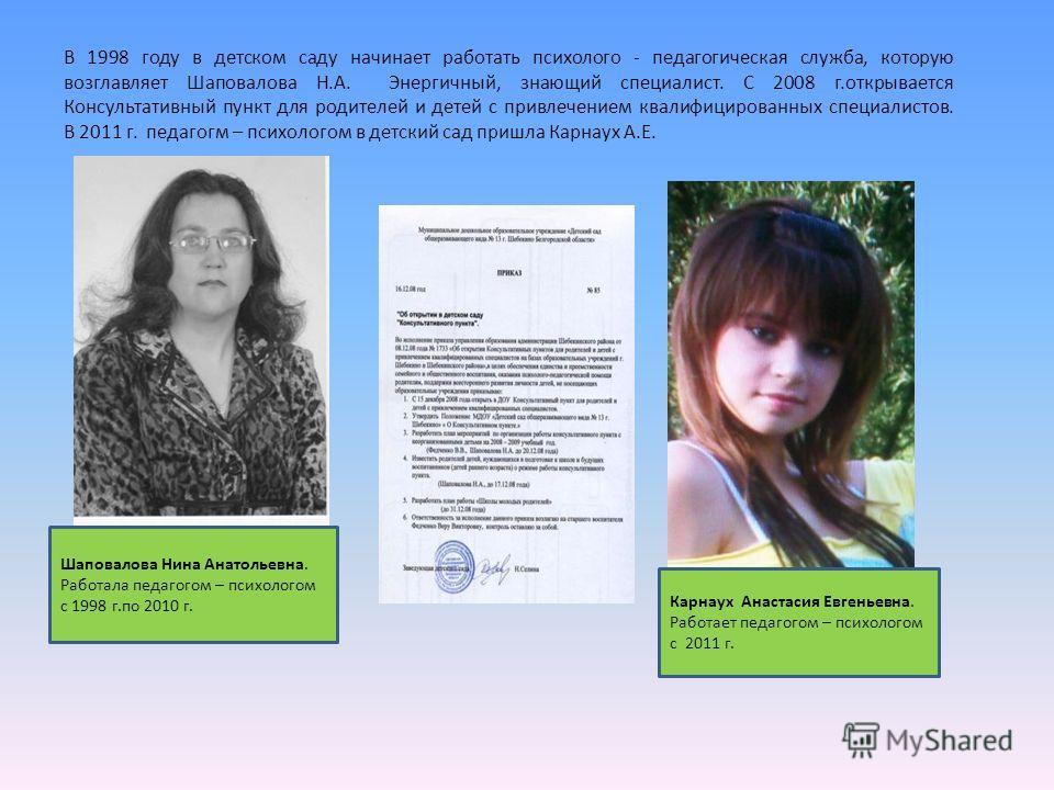 В 1998 году в детском саду начинает работать психолого - педагогическая служба, которую возглавляет Шаповалова Н.А. Энергичный, знающий специалист. С 2008 г.открывается Консультативный пункт для родителей и детей с привлечением квалифицированных спец