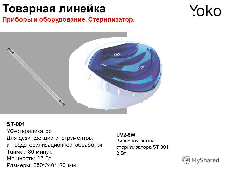 ST-001 УФ-стерилизатор Для дезинфекции инструментов, и предстерилизационной обработки Таймер 30 минут. Мощность: 25 Вт. Размеры: 350*240*120 мм UV2-8W Запасная лампа стерилизатора ST 001 8 Вт Товарная линейка Приборы и оборудование. Стерилизатор.