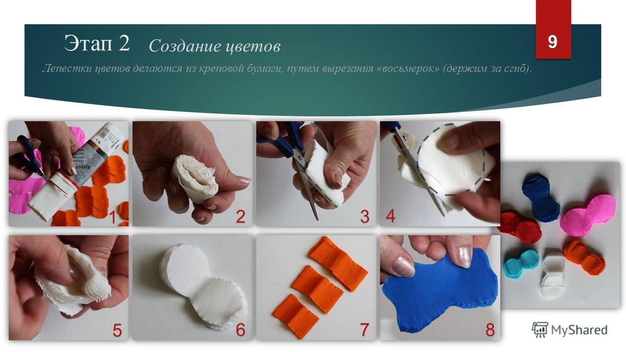 Этап 2 Создание цветов Лепестки цветов делаются из креповой бумаги, путем вырезания «восьмерок» (держим за сгиб). 1 23 4 5 678