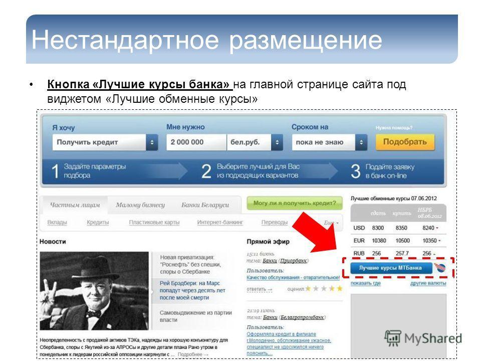 Нестандартное размещение Кнопка «Лучшие курсы банка» на главной странице сайта под виджетом «Лучшие обменные курсы»