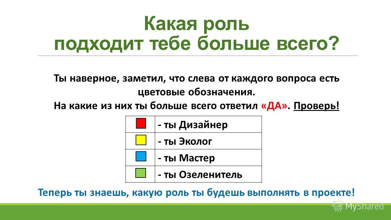 Какая роль подходит тебе больше всего? Ты наверное, заметил, что слева от каждого вопроса есть цветовые обозначения. На какие из них ты больше всего ответил «ДА». Проверь! Теперь ты знаешь, какую роль ты будешь выполнять в проекте! - ты Дизайнер - ты