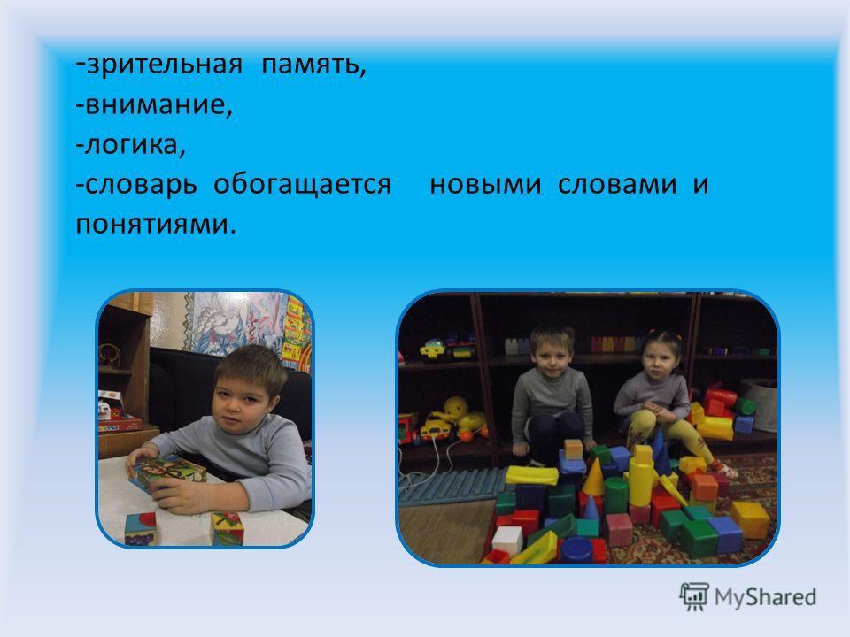 - зрительная память, -внимание, -логика, -словарь обогащается новыми словами и понятиями.