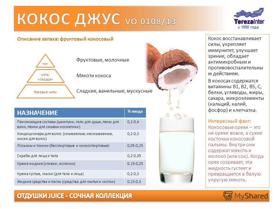 с 1990 года Кокос восстанавливает силы, укрепляет иммунитет, улучшает зрение, обладает антимикробным и противовоспалительны м действием. В кокосах содержатся витамины В1, В2, В5, С, белки, углеводы, жиры, сахара, микроэлементы (кальций, калий, фосфор