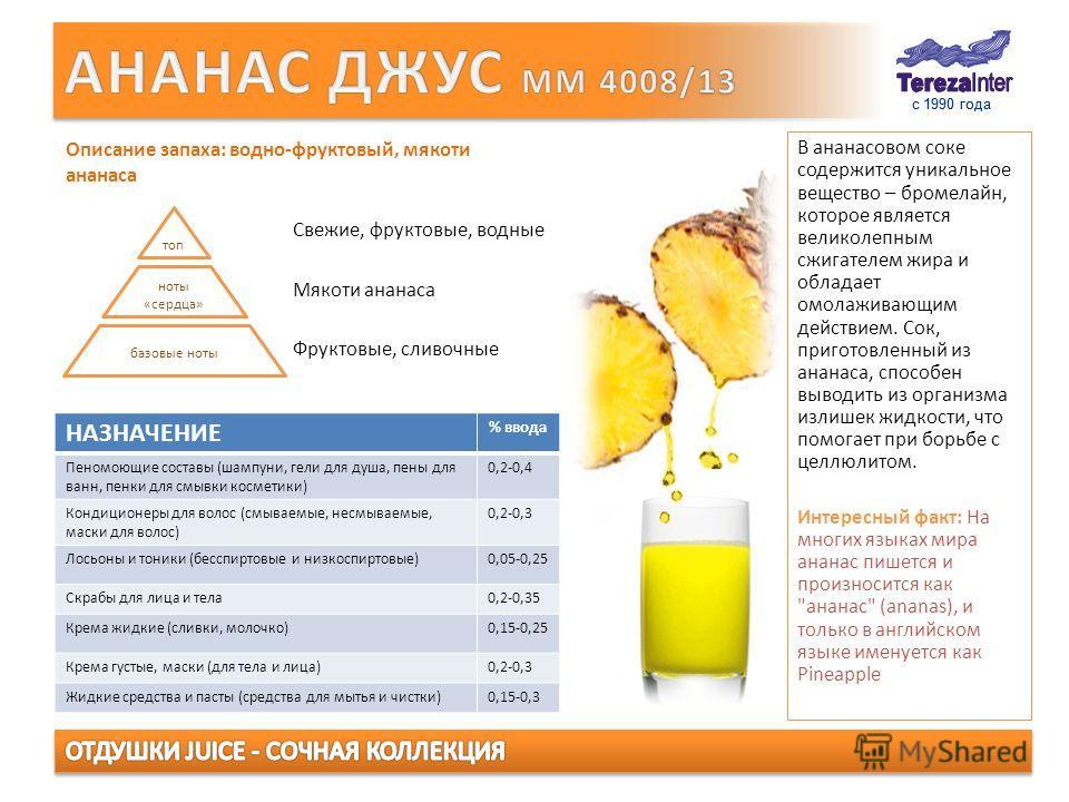 с 1990 года В ананасовом соке содержится уникальное вещество – бромелайн, которое является великолепным сжигателем жира и обладает омолаживающим действием. Сок, приготовленный из ананаса, способен выводить из организма излишек жидкости, что помогает