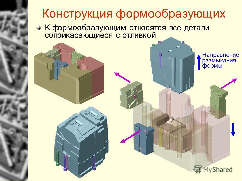 Конструкция формообразующих К формообразующим относятся все детали соприкасающиеся с отливкой Направление размыкания формы
