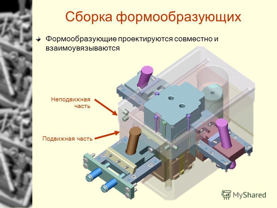 Сборка формообразующих Формообразующие проектируются совместно и взаимоувязываются Неподвижная часть Подвижная часть
