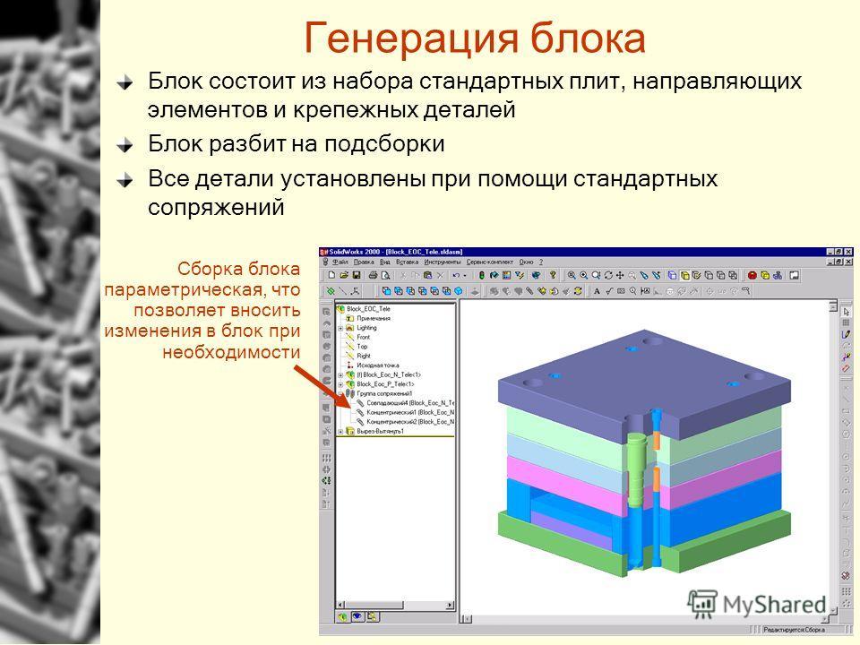 Генерация блока Блок состоит из набора стандартных плит, направляющих элементов и крепежных деталей Блок разбит на подсборки Все детали установлены при помощи стандартных сопряжений Сборка блока параметрическая, что позволяет вносить изменения в блок