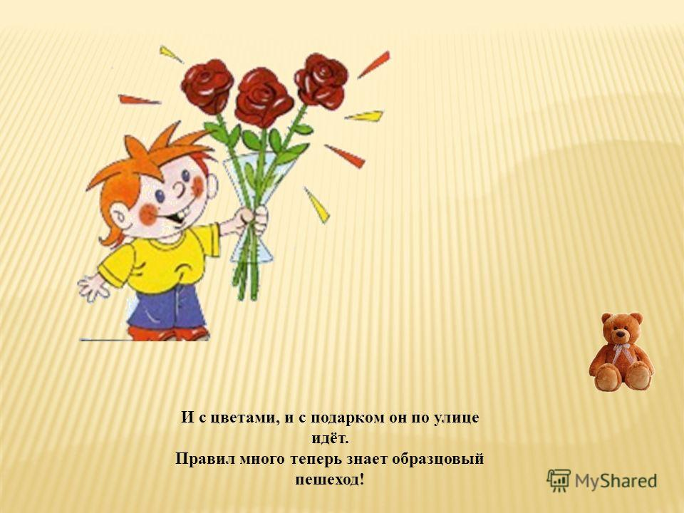 И с цветами, и с подарком он по улице идёт. Правил много теперь знает образцовый пешеход!