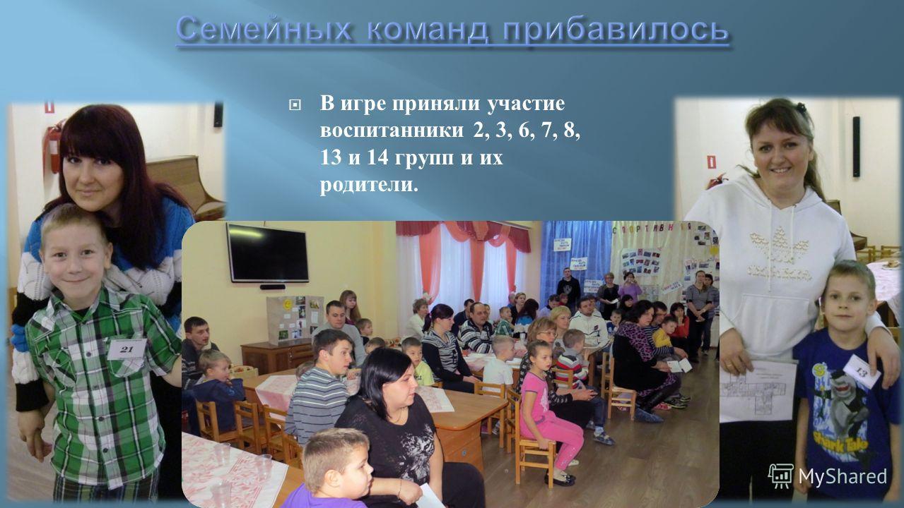 В игре приняли участие воспитанники 2, 3, 6, 7, 8, 13 и 14 групп и их родители.