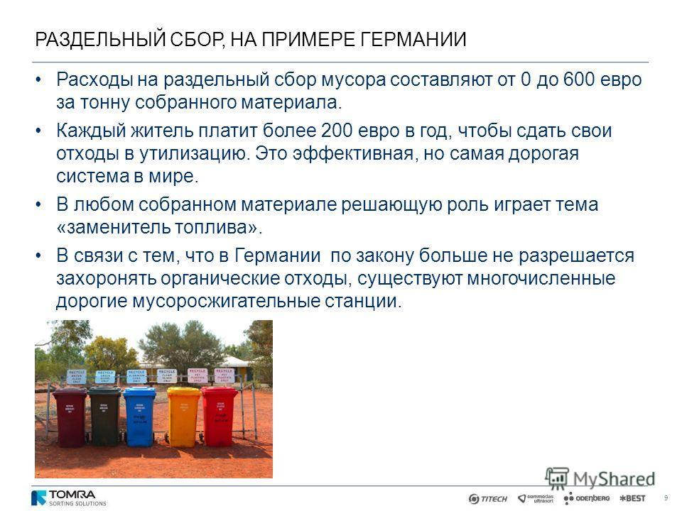 РАЗДЕЛЬНЫЙ СБОР, НА ПРИМЕРЕ ГЕРМАНИИ 9 Расходы на раздельный сбор мусора составляют от 0 до 600 евро за тонну собранного материала. Каждый житель платит более 200 евро в год, чтобы сдать свои отходы в утилизацию. Это эффективная, но самая дорогая сис
