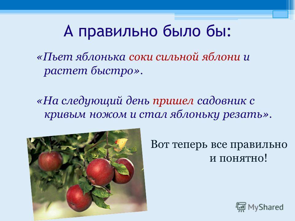 А правильно было бы: «Пьет яблонька соки сильной яблони и растет быстро». «На следующий день пришел садовник с кривым ножом и стал яблоньку резать». Вот теперь все правильно и понятно!