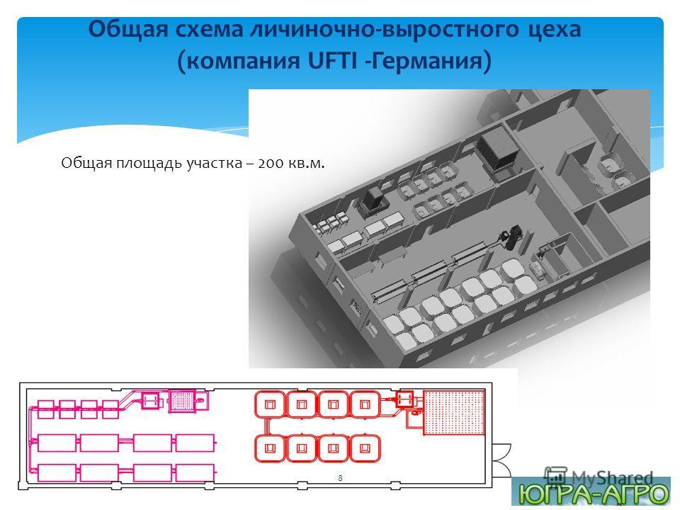 Общая схема личиночно-выростного цеха (компания UFTI -Германия) Общая площадь участка – 200 кв.м. 8