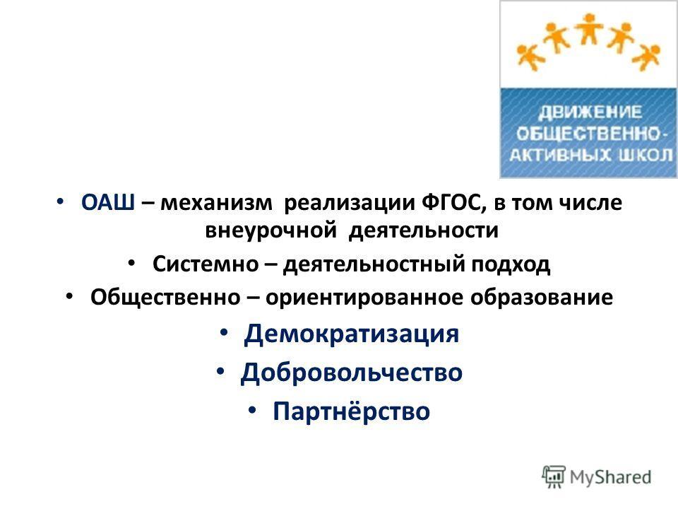 ОАШ – механизм реализации ФГОС, в том числе внеурочной деятельности Системно – деятельностный подход Общественно – ориентированное образование Демократизация Добровольчество Партнёрство