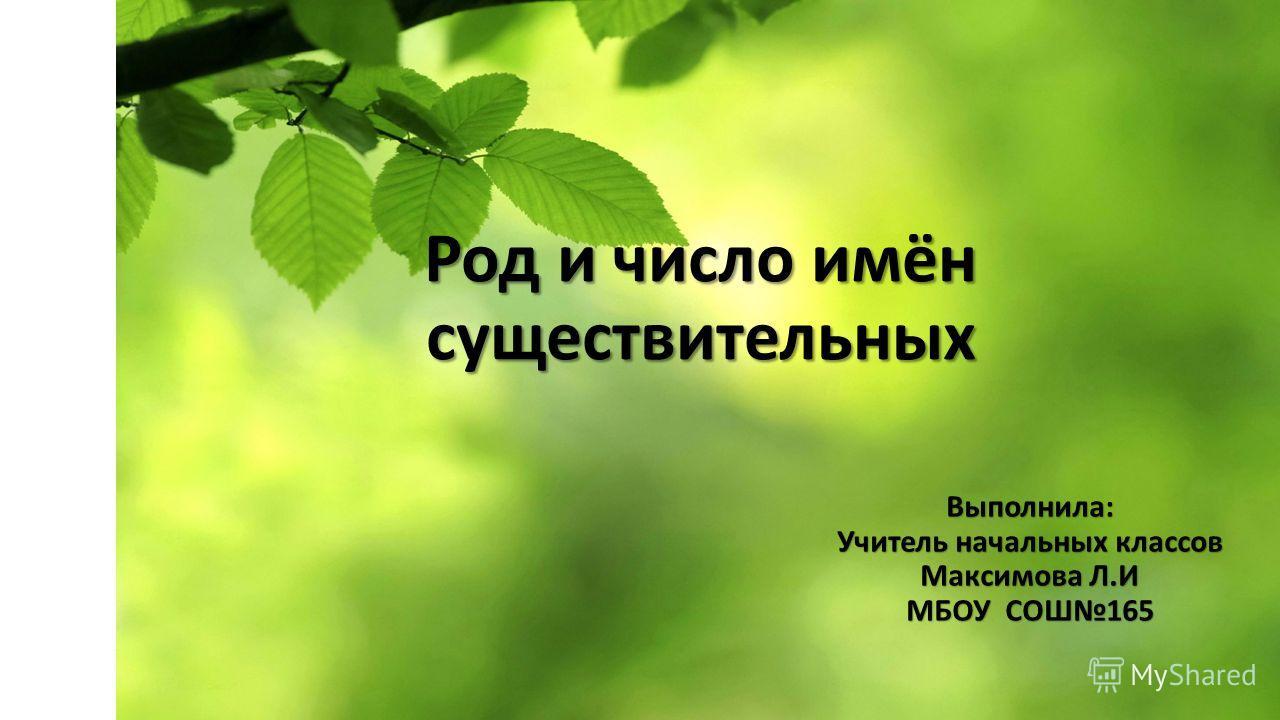 Род и число имён существительных Выполнила: Учитель начальных классов Максимова Л.И МБОУ СОШ165