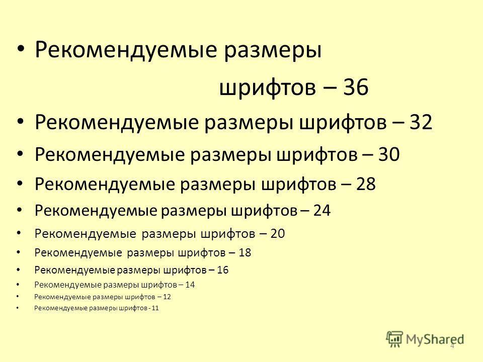 Рекомендуемые размеры шрифтов – 36 Рекомендуемые размеры шрифтов – 32 Рекомендуемые размеры шрифтов – 30 Рекомендуемые размеры шрифтов – 28 Рекомендуемые размеры шрифтов – 24 Рекомендуемые размеры шрифтов – 20 Рекомендуемые размеры шрифтов – 18 Реком