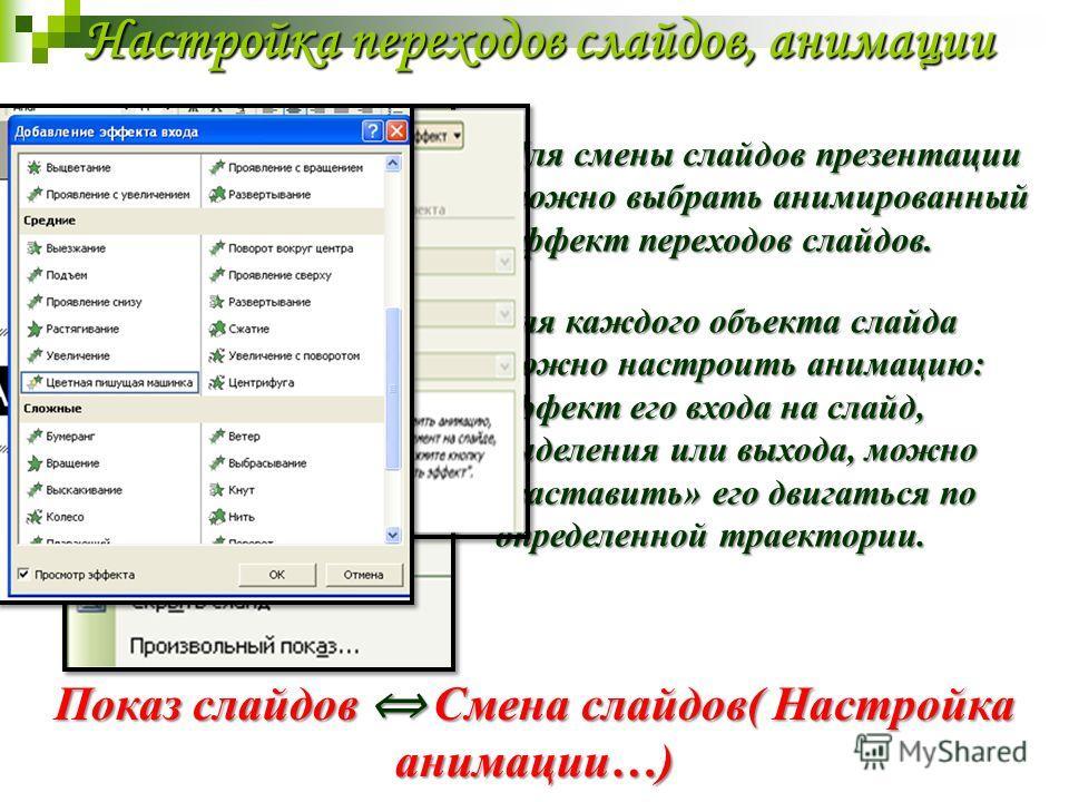 Настройка переходов слайдов, анимации Для смены слайдов презентации можно выбрать анимированный эффект переходов слайдов. Показ слайдов Смена слайдов( Настройка анимации…) Для каждого объекта слайда можно настроить анимацию: эффект его входа на слайд