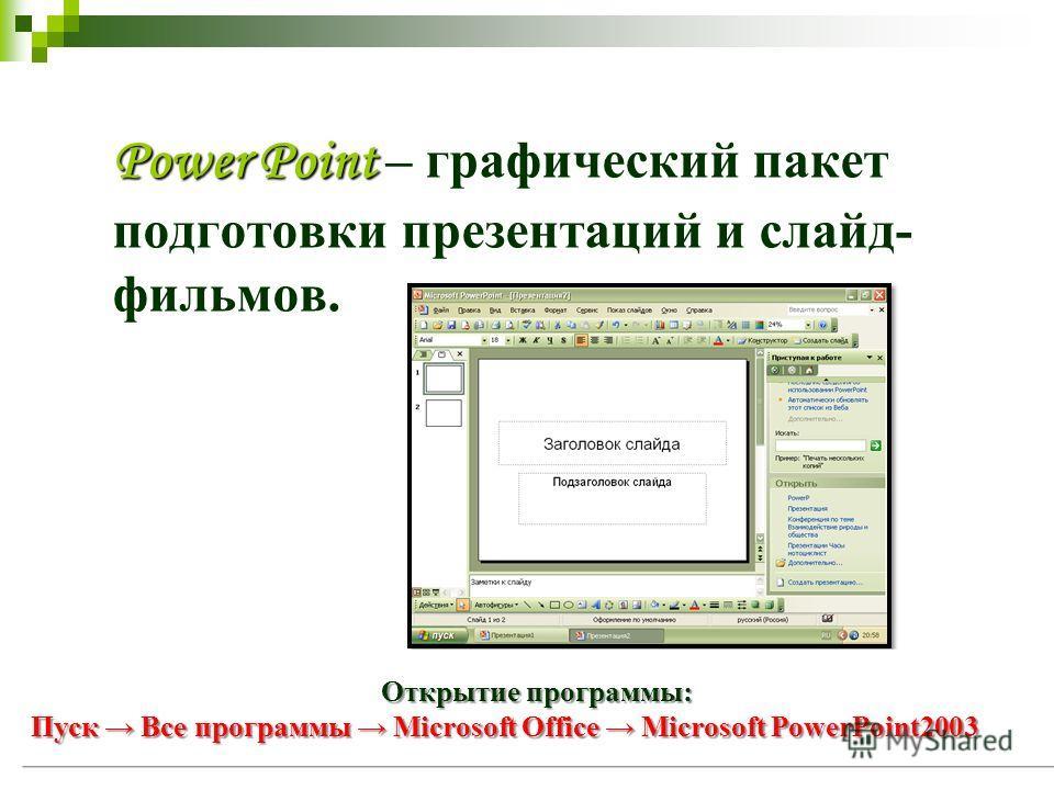 Power Point Power Point – графический пакет подготовки презентаций и слайд- фильмов. Открытие программы: Пуск Все программы Microsoft Office Microsoft PowerPoint2003
