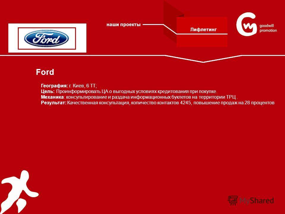 Ford География: г. Киев, 6 ТТ; Цель: Проинформировать ЦА о выгодных условиях кредитования при покупке. Механика: консультирование и раздача информационных буклетов на территории ТРЦ. Результат: Качественная консультация, количество контактов 4245, по