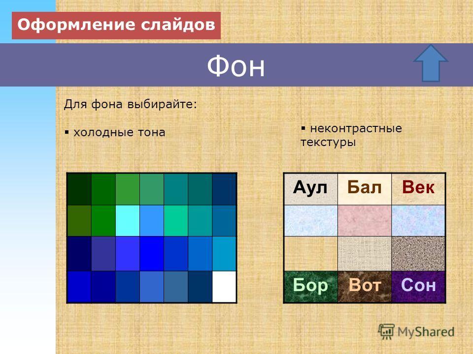 Фон холодные тона Оформление слайдов неконтрастные текстуры Для фона выбирайте: Аул БалВек Бор ВотСон