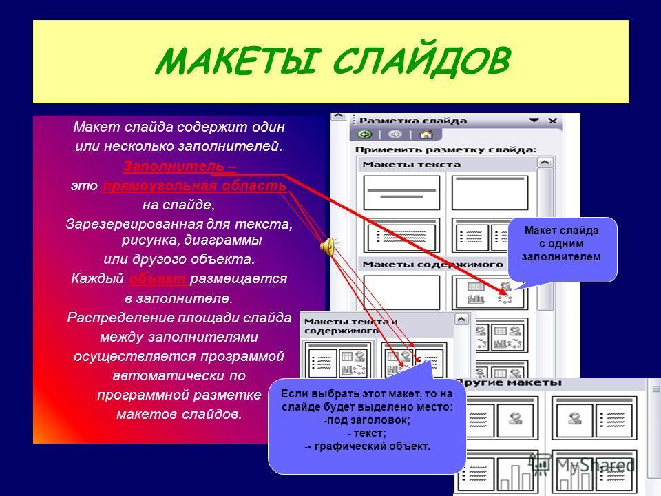 МАКЕТЫ СЛАЙДОВ Макет слайда содержит один или несколько заполнителей. Заполнитель – это прямоугольная область на слайде, Зарезервированная для текста, рисунка, диаграммы или другого объекта. Каждый объект размещается в заполнителе. Распределение площ