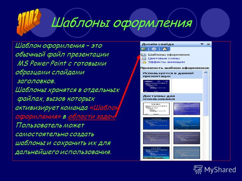 Шаблоны оформления Шаблон оформления – это обычный файл презентации MS Power Point c готовыми образцами слайдами заголовков. Шаблоны хранятся в отдельных файлах, вызов которых активизирует команда «Шаблон оформления» в области задач. Пользователь мож