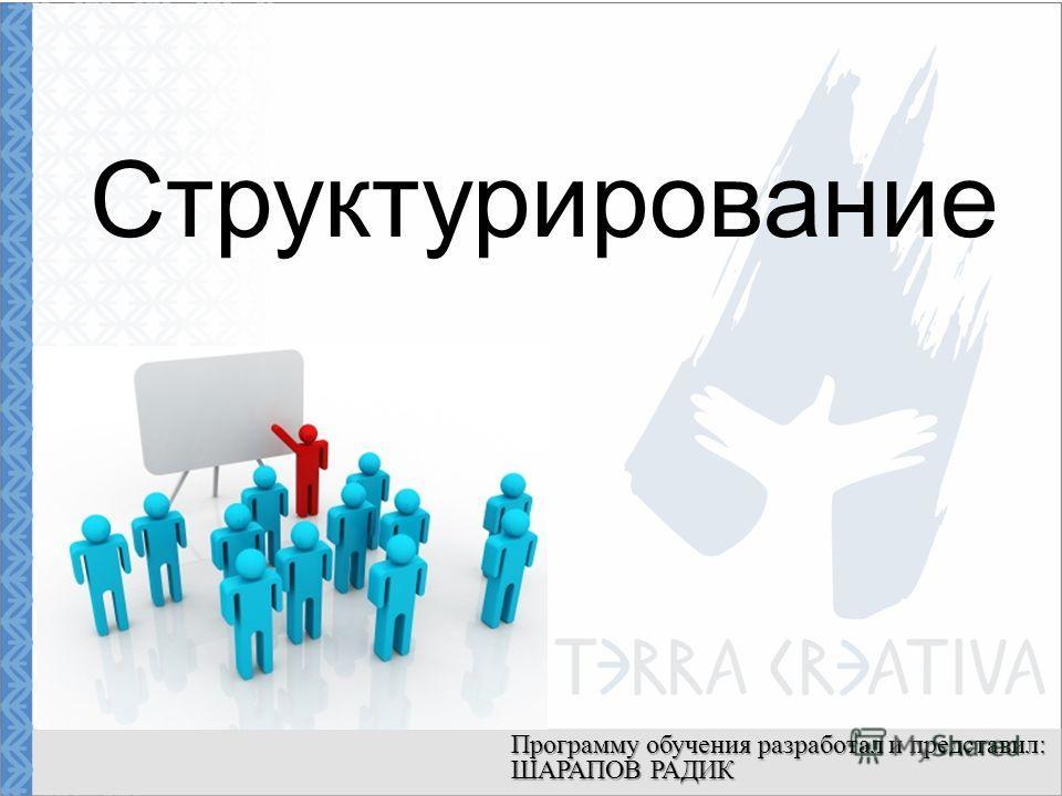 Структурирование Программу обучения разработал и представил: ШАРАПОВ РАДИК