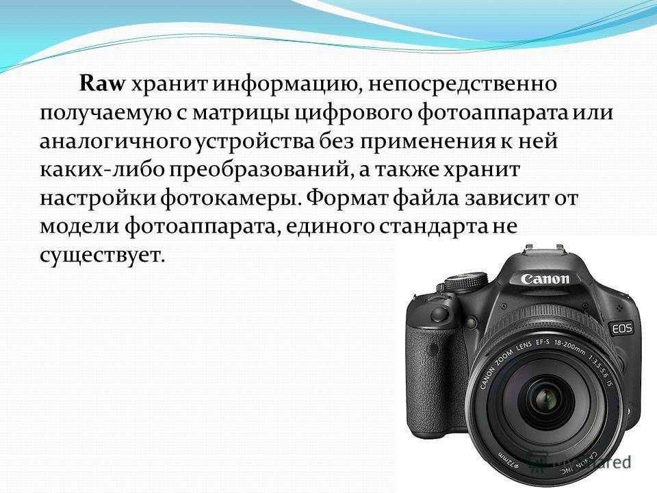 Raw хранит информацию, непосредственно получаемую с матрицы цифрового фотоаппарата или аналогичного устройства без применения к ней каких-либо преобразований, а также хранит настройки фотокамеры. Формат файла зависит от модели фотоаппарата, единого с