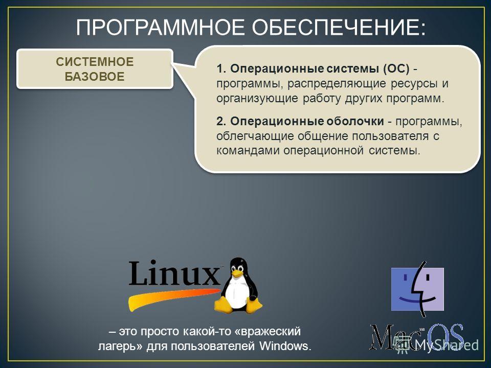 ПРОГРАММНОЕ ОБЕСПЕЧЕНИЕ: СИСТЕМНОЕ БАЗОВОЕ СИСТЕМНОЕ БАЗОВОЕ 1. Операционные системы (ОС) - программы, распределяющие ресурсы и организующие работу других программ. 2. Операционные оболочки - программы, облегчающие общение пользователя с командами оп