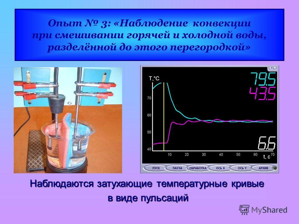 Опыт 3: «Наблюдение конвекции при смешивании горячей и холодной воды, разделённой до этого перегородкой» Наблюдаются затухающие температурные кривые в виде пульсаций в виде пульсаций