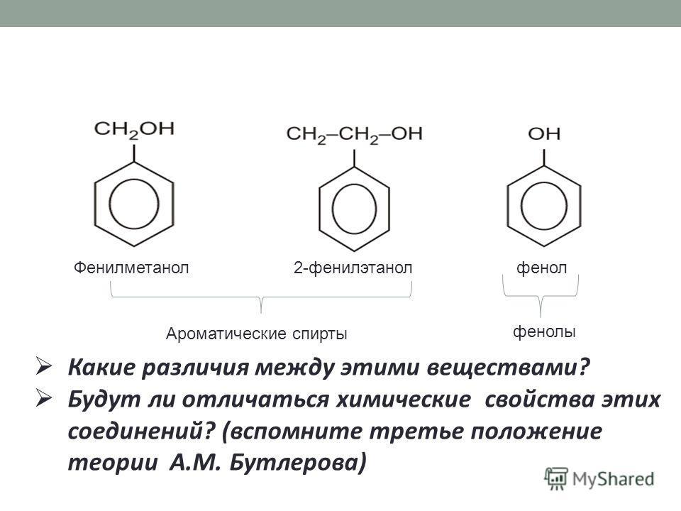 Фенилметанол 2-фенилэтанол фенол Какие различия между этими веществами? Будут ли отличаться химические свойства этих соединений? (вспомните третье положение теории А.М. Бутлерова) Ароматические спирты фенолы