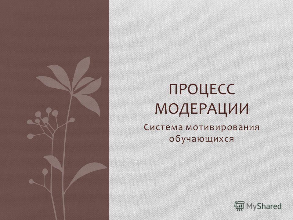 Система мотивирования обучающихся ПРОЦЕСС МОДЕРАЦИИ