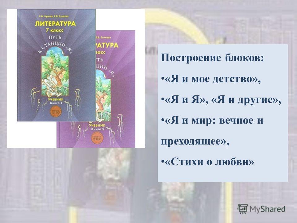 Построение блоков: «Я и мое детство», «Я и Я», «Я и другие», «Я и мир: вечное и преходящее», «Стихи о любви»