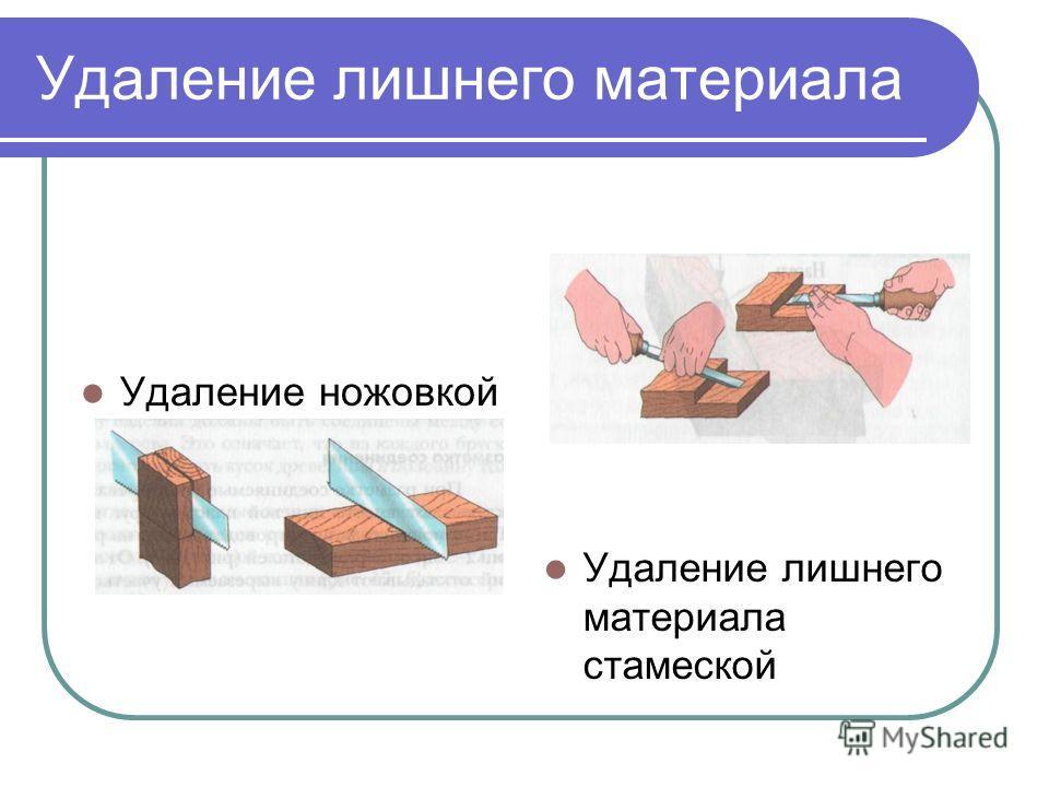 Удаление лишнего материала Удаление ножовкой Удаление лишнего материала стамеской