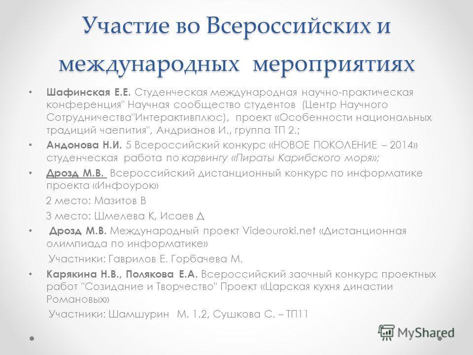 Участие во Всероссийских и международных мероприятиях Шафинская Е.Е. Студенческая международная научно-практическая конференция