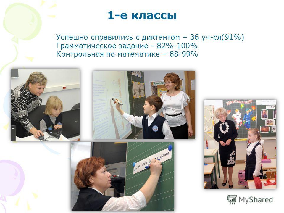 1-е классы Успешно справились с диктантом – 36 уч-ся(91%) Грамматическое задание - 82%-100% Контрольная по математике – 88-99%