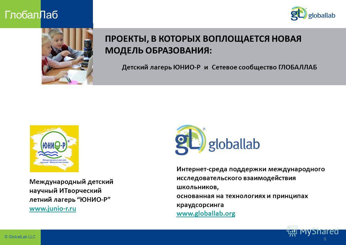 8 © GlobalLab LLC Глобал Лаб 8 ПРОЕКТЫ, В КОТОРЫХ ВОПЛОЩАЕТСЯ НОВАЯ МОДЕЛЬ ОБРАЗОВАНИЯ: Интернет-среда поддержки международного исследовательского взаимодействия школьников, основанная на технологиях и принципах краудсорсинга www.globallab.org Междун