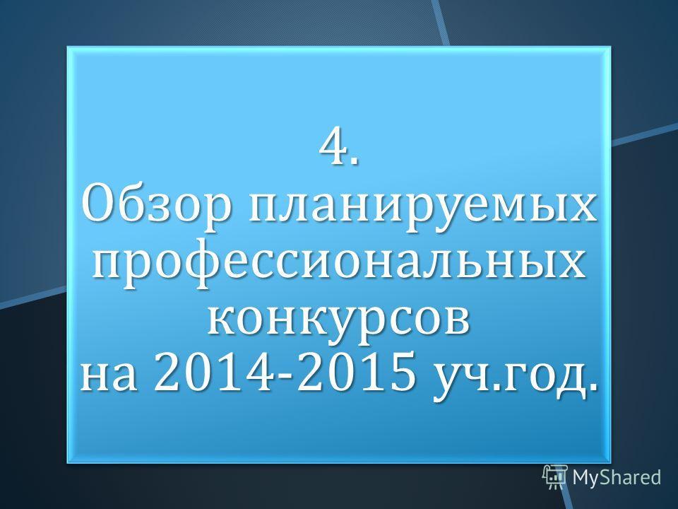 4. Обзор планируемых профессиональных конкурсов на 2014-2015 уч. год.