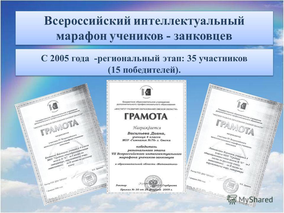 Всероссийский интеллектуальный марафон учеников - занковцев С 2005 года -региональный этап: 35 участников (15 победителей). С 2005 года -региональный этап: 35 участников (15 победителей).