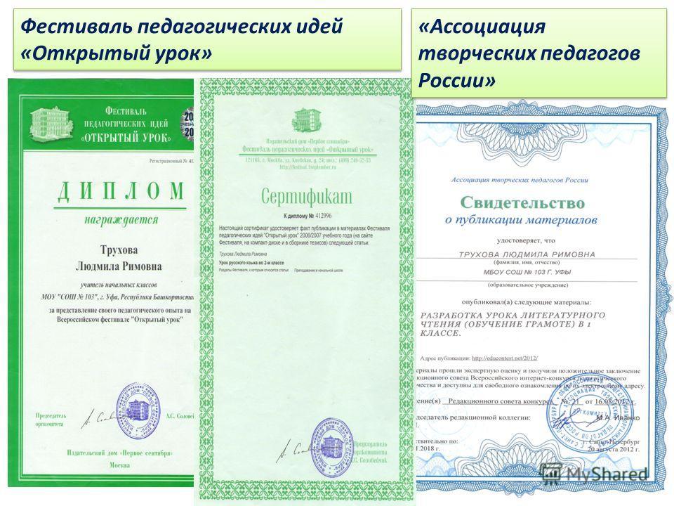 Фестиваль педагогических идей «Открытый урок» «Ассоциация творческих педагогов России»