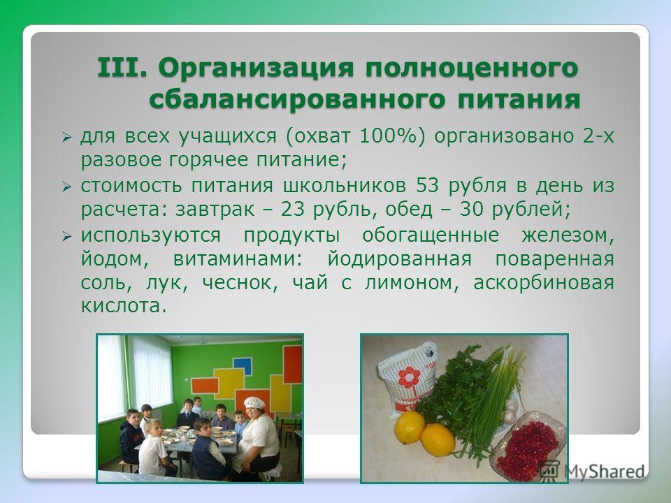 III. Организация полноценного сбалансированного питания для всех учащихся (охват 100%) организовано 2-х разовое горячее питание; стоимость питания школьников 53 рубля в день из расчета: завтрак – 23 рубль, обед – 30 рублей; используются продукты обог