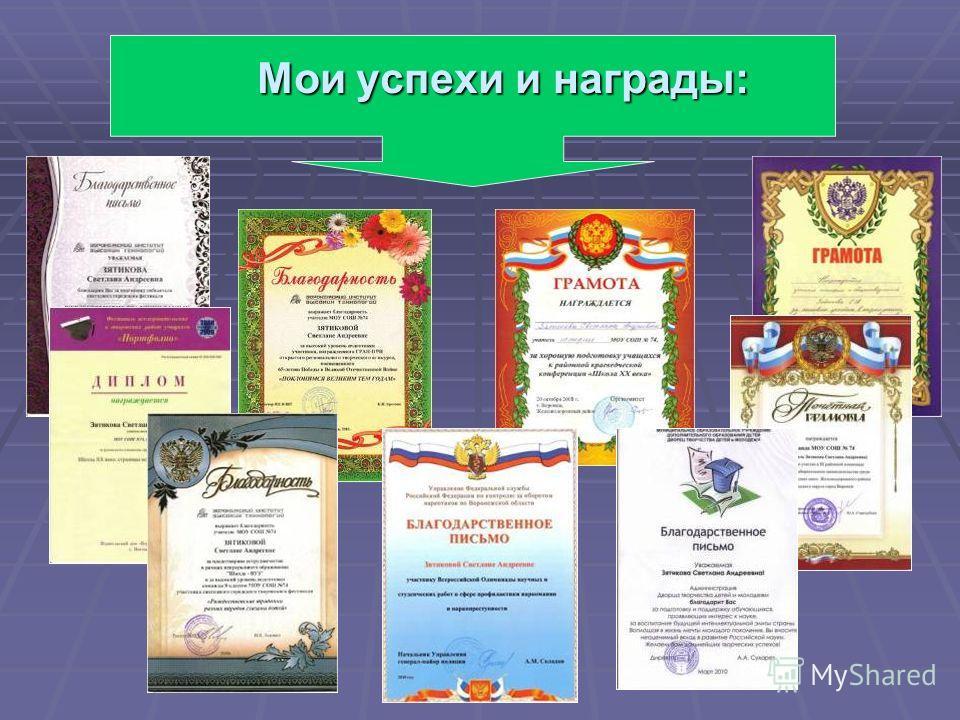 Мои успехи и награды: