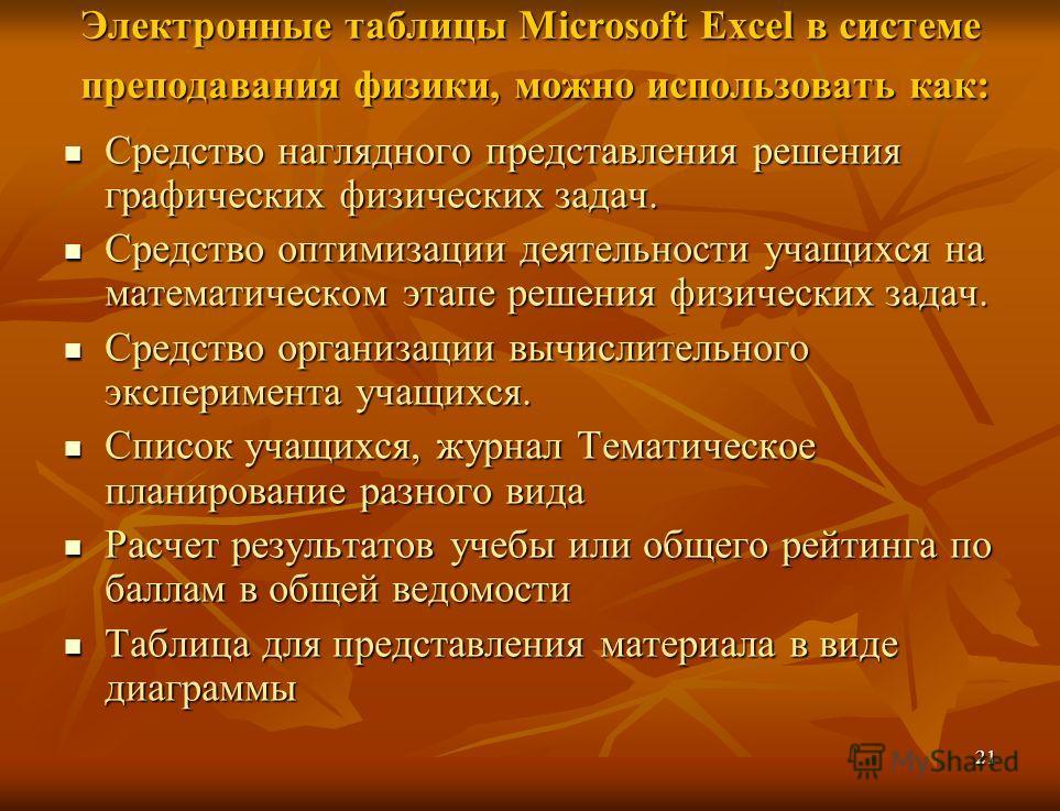 21 Электронные таблицы Microsoft Excel в системе преподавания физики, можно использовать как: Средство наглядного представления решения графических физических задач. Средство наглядного представления решения графических физических задач. Средство опт