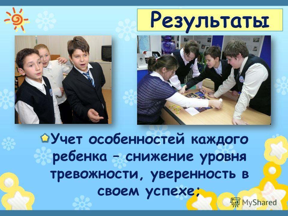 Учет особенностей каждого ребенка – снижение уровня тревожности, уверенность в своем успехе;