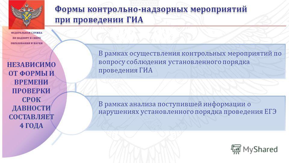 В рамках осуществления контрольных мероприятий по вопросу соблюдения установленного порядка проведения ГИА В рамках анализа поступившей информации о нарушениях установленного порядка проведения ЕГЭ Формы контрольно-надзорных мероприятий при проведени