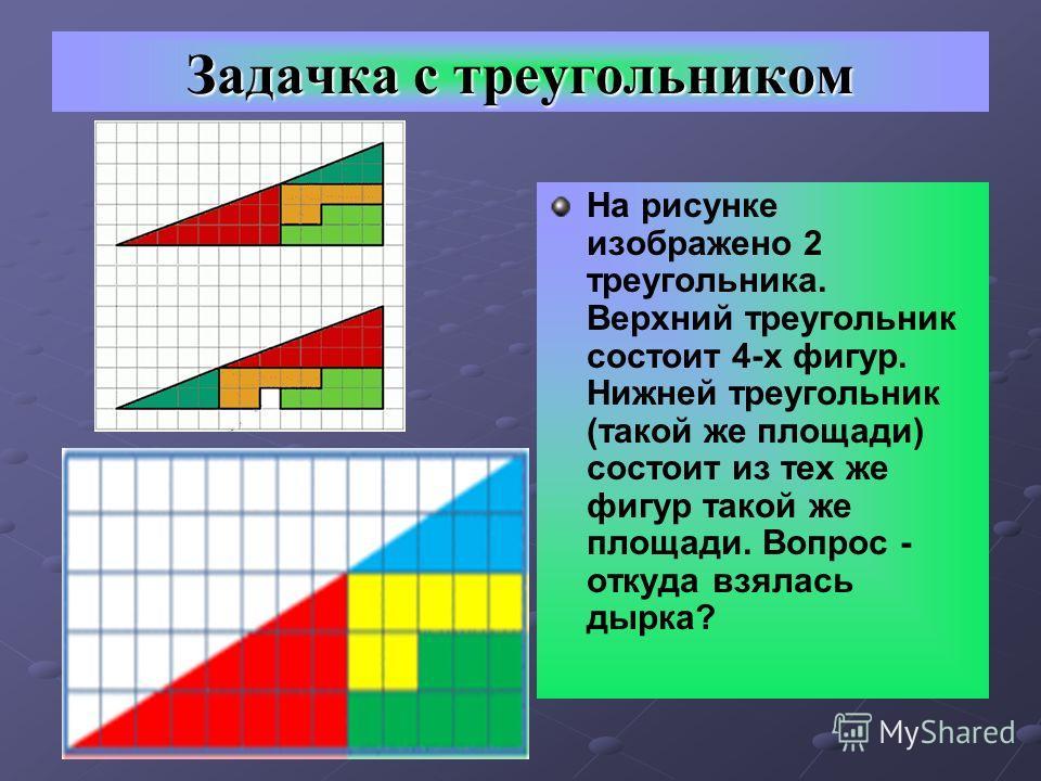 Задачка с треугольником На рисунке изображено 2 треугольника. Верхний треугольник состоит 4-х фигур. Нижней треугольник (такой же площади) состоит из тех же фигур такой же площади. Вопрос - откуда взялась дырка?